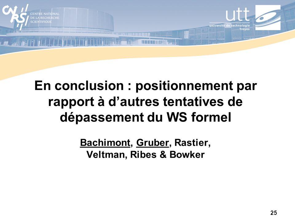 En conclusion : positionnement par rapport à d'autres tentatives de dépassement du WS formel Bachimont, Gruber, Rastier, Veltman, Ribes & Bowker