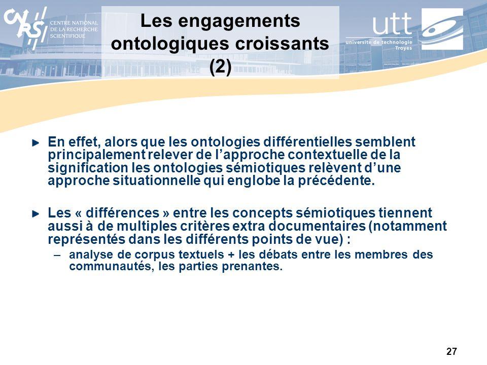 Les engagements ontologiques croissants (2)