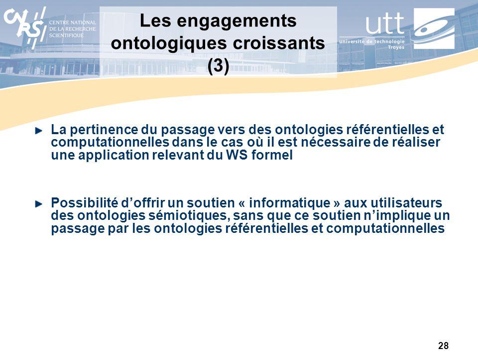 Les engagements ontologiques croissants (3)
