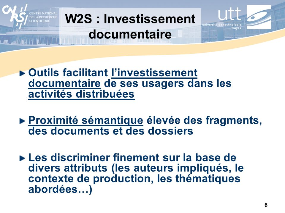 W2S : Investissement documentaire