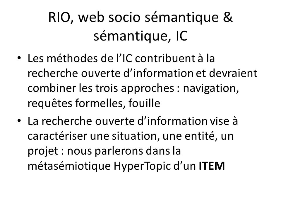 RIO, web socio sémantique & sémantique, IC