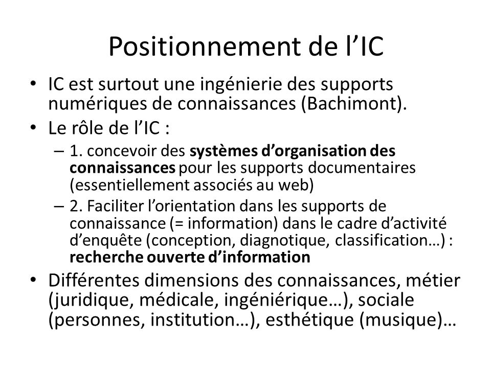 Positionnement de l'IC