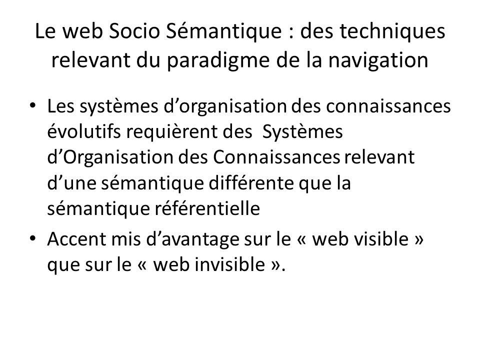 Le web Socio Sémantique : des techniques relevant du paradigme de la navigation