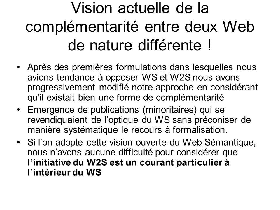 Vision actuelle de la complémentarité entre deux Web de nature différente !