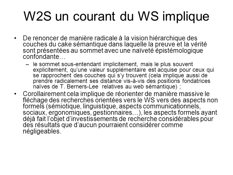 W2S un courant du WS implique