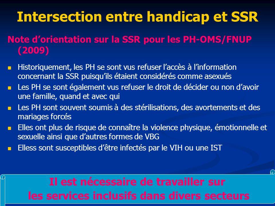Intersection entre handicap et SSR