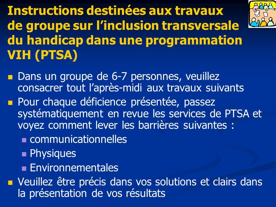 Instructions destinées aux travaux de groupe sur l'inclusion transversale du handicap dans une programmation VIH (PTSA)