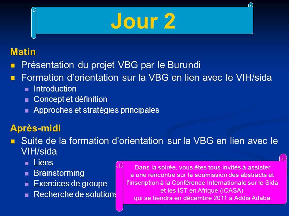 Jour 2 Matin Présentation du projet VBG par le Burundi