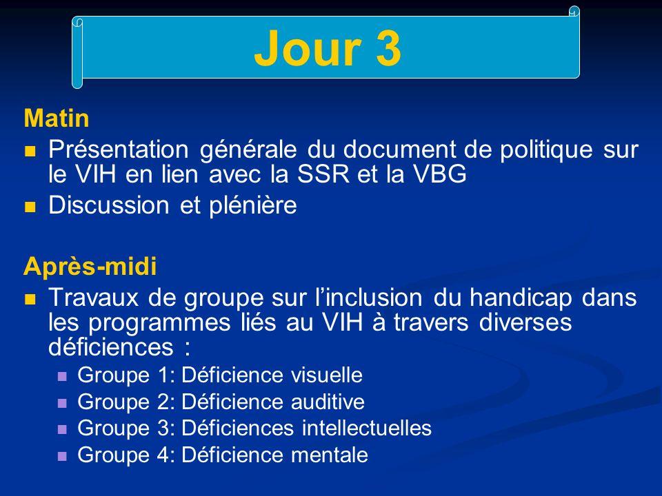 Jour 3 Matin. Présentation générale du document de politique sur le VIH en lien avec la SSR et la VBG.