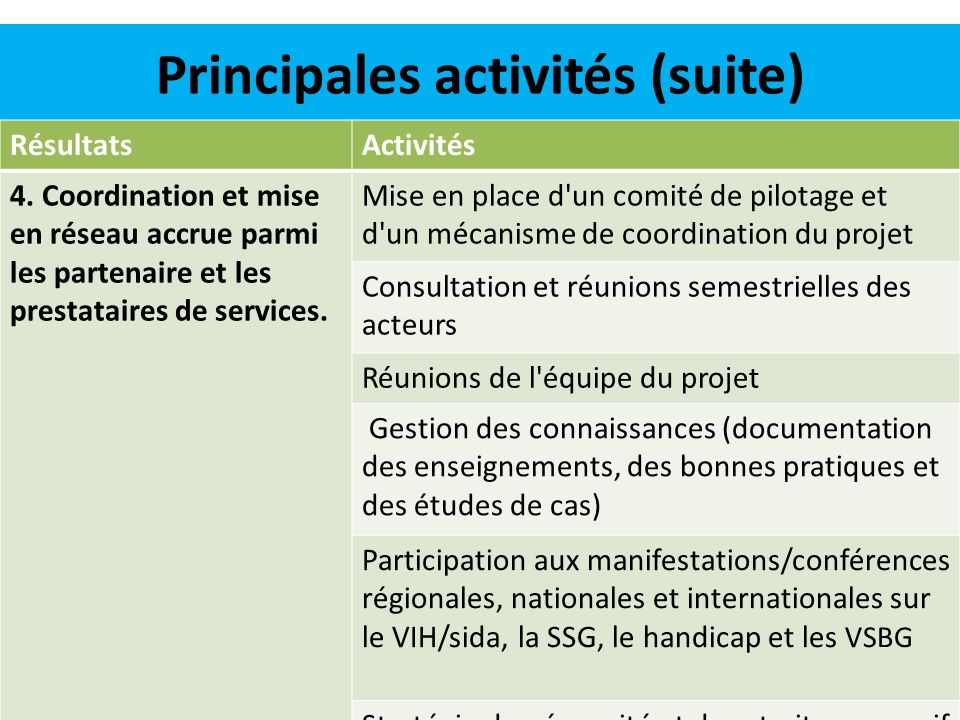 Principales activités (suite)