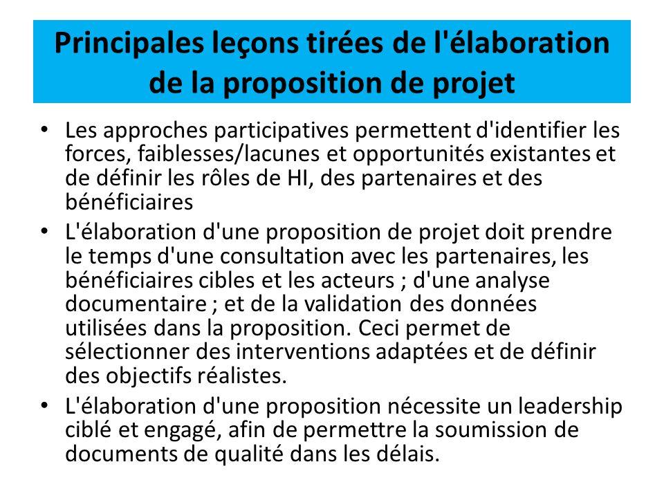 Principales leçons tirées de l élaboration de la proposition de projet