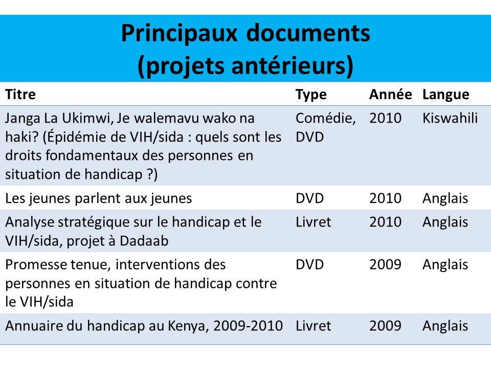 Principaux documents (projets antérieurs)