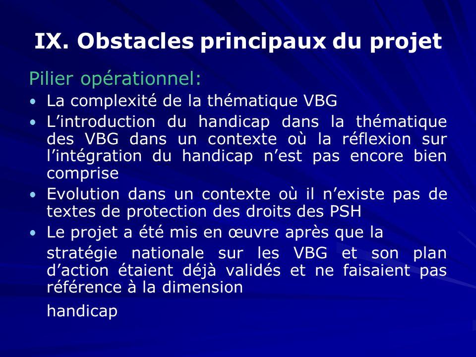 IX. Obstacles principaux du projet