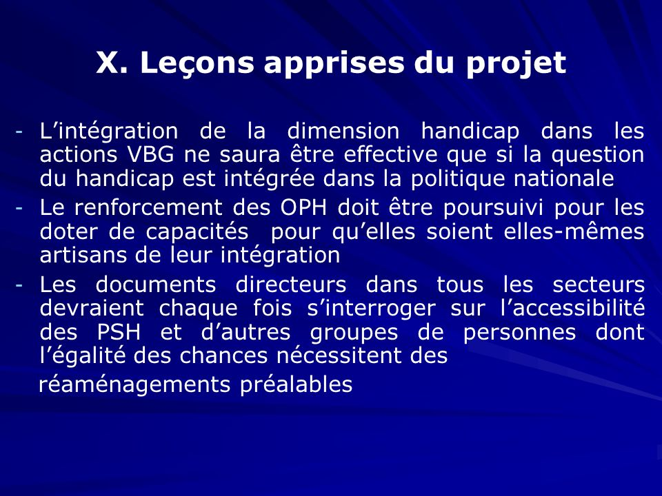 X. Leçons apprises du projet