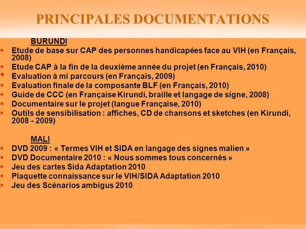 PRINCIPALES DOCUMENTATIONS