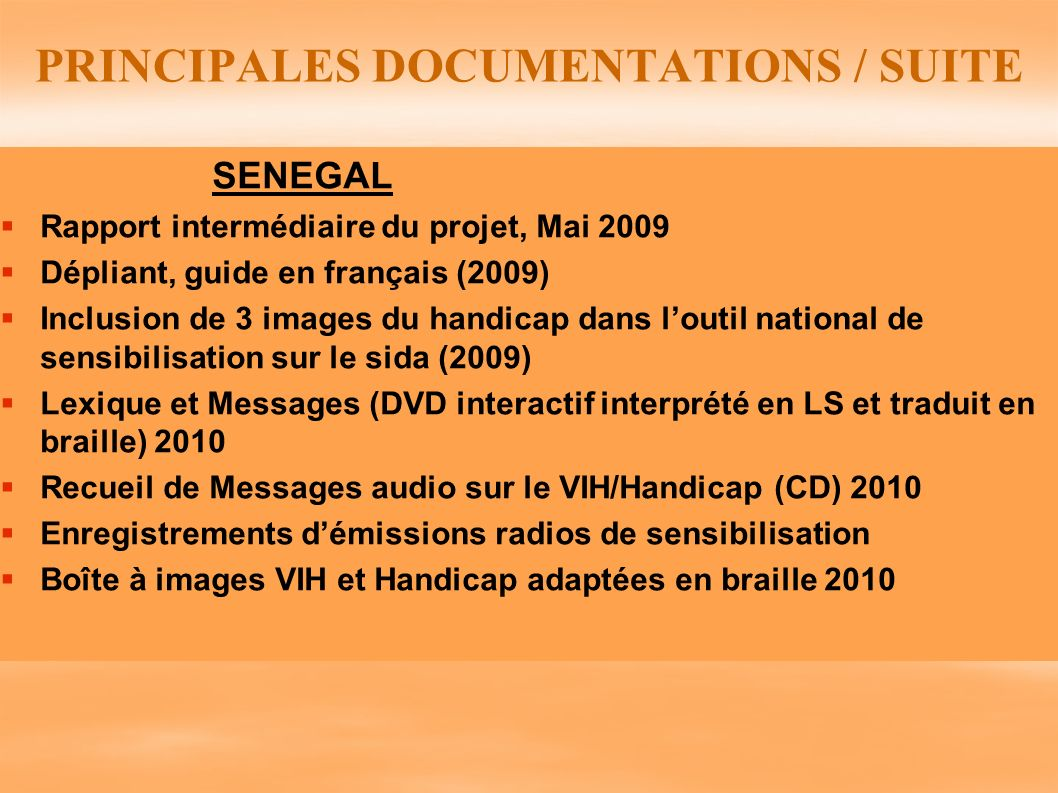PRINCIPALES DOCUMENTATIONS / SUITE