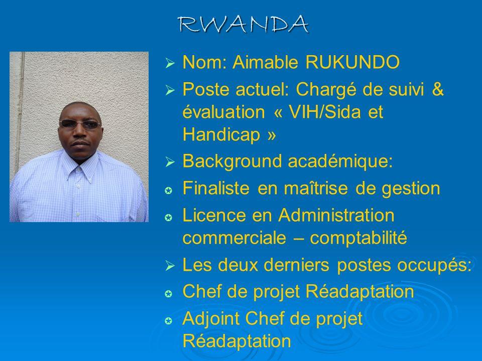 RWANDA Nom: Aimable RUKUNDO