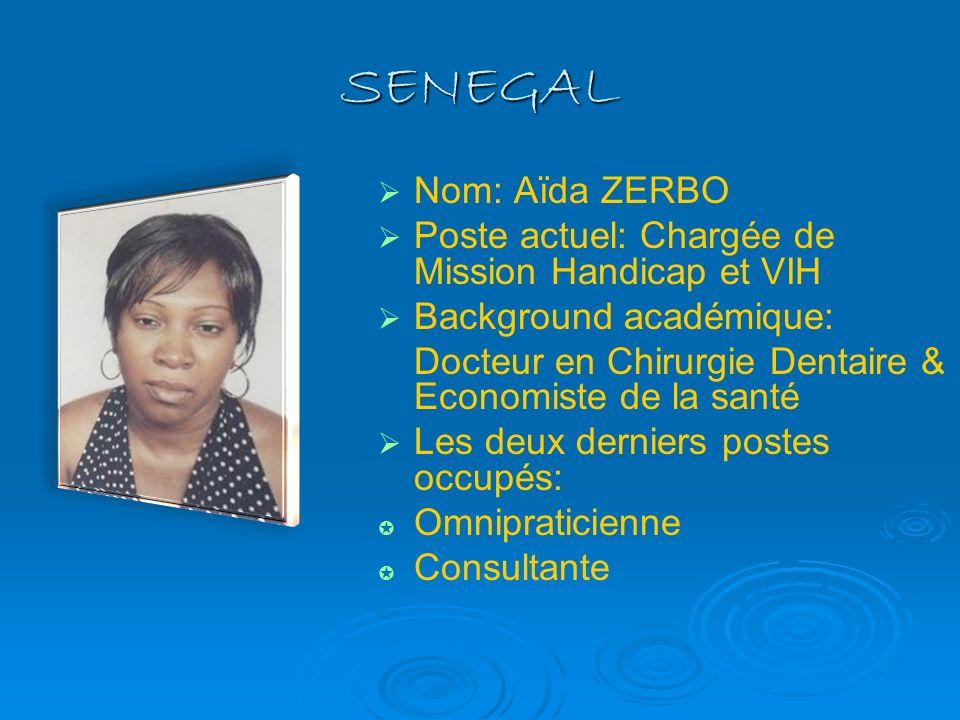 SENEGAL Nom: Aïda ZERBO