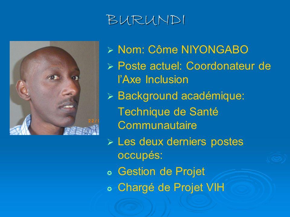 BURUNDI Nom: Côme NIYONGABO