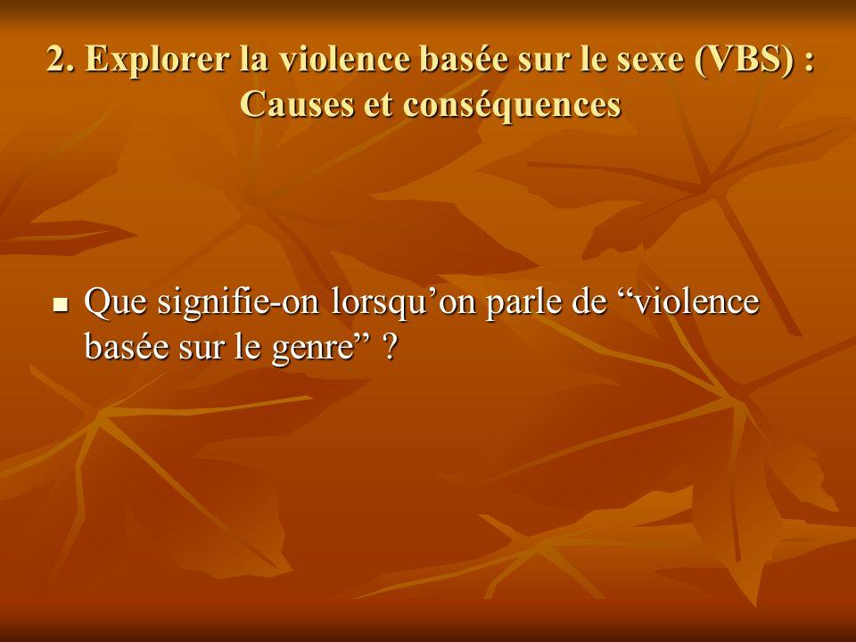 2. Explorer la violence basée sur le sexe (VBS) : Causes et conséquences
