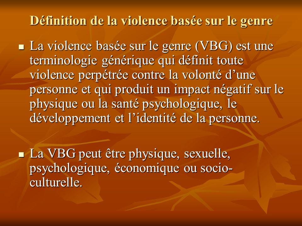 Définition de la violence basée sur le genre