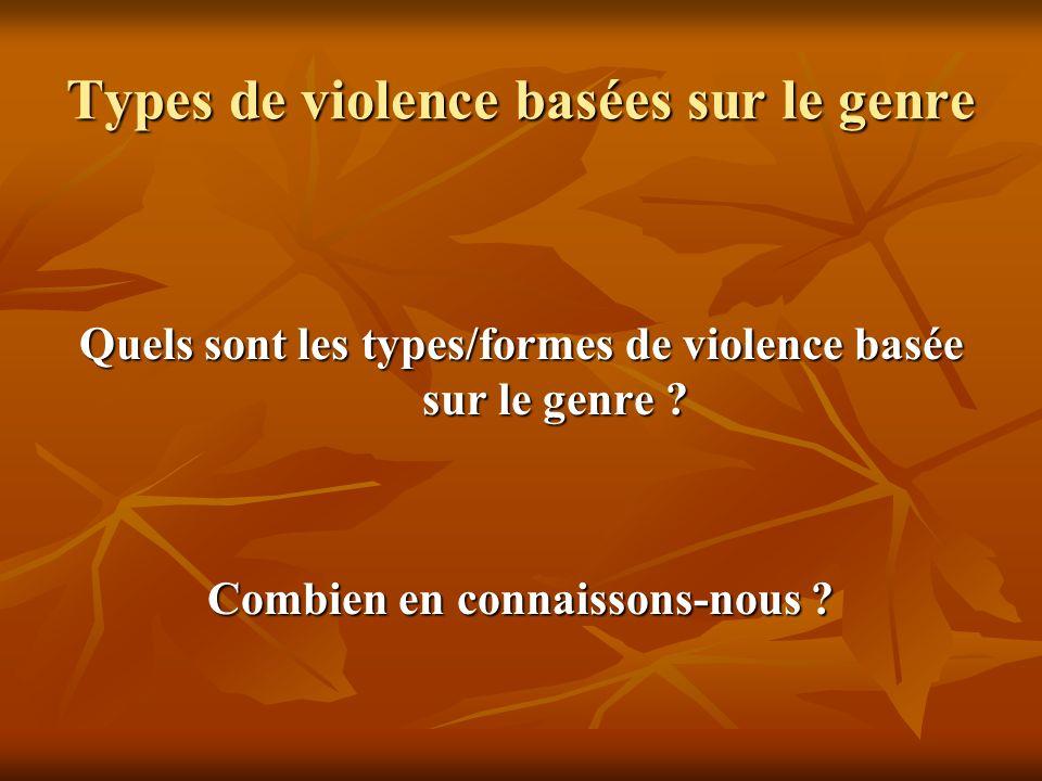 Types de violence basées sur le genre