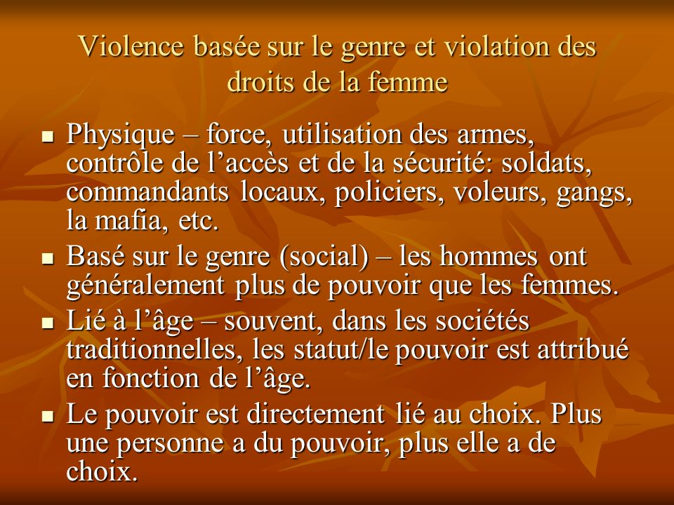 Violence basée sur le genre et violation des droits de la femme