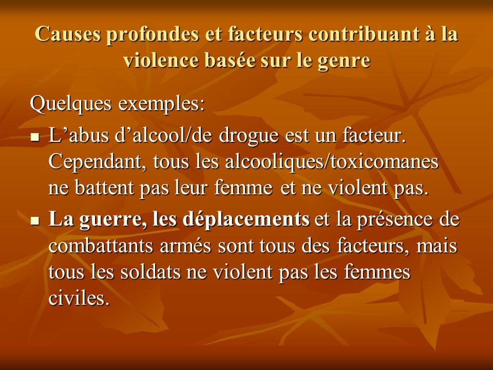 Causes profondes et facteurs contribuant à la violence basée sur le genre