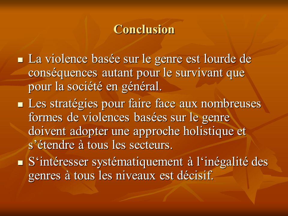 ConclusionLa violence basée sur le genre est lourde de conséquences autant pour le survivant que pour la société en général.