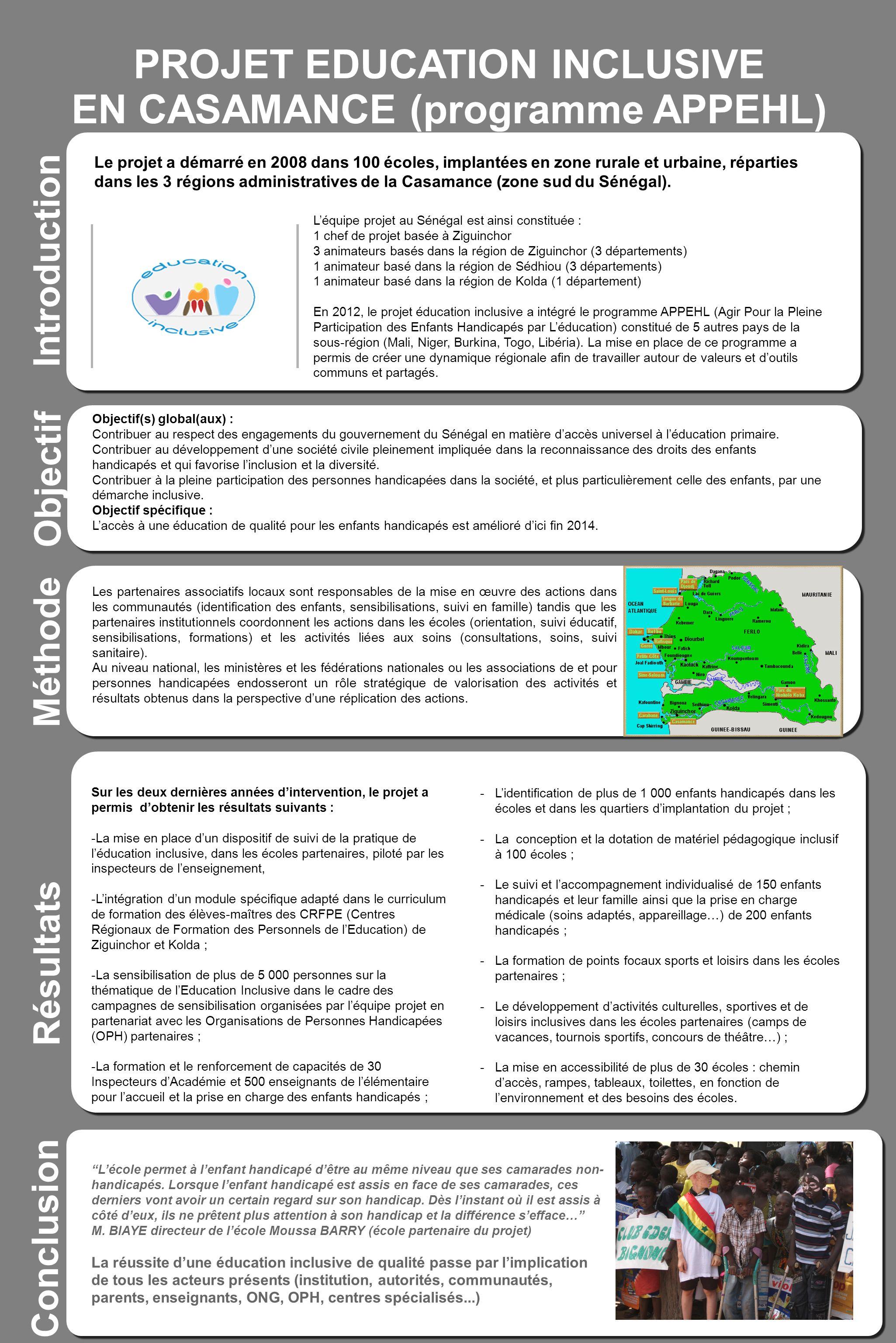 PROJET EDUCATION INCLUSIVE EN CASAMANCE (programme APPEHL)