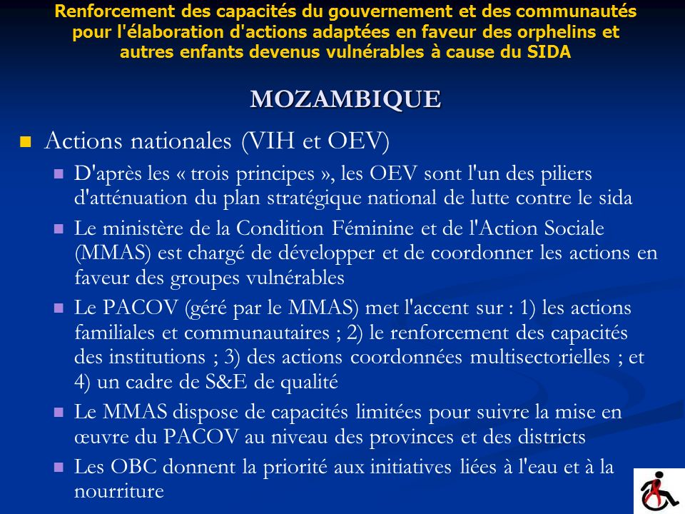 Actions nationales (VIH et OEV)