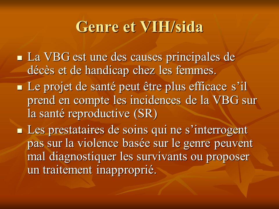 Genre et VIH/sida La VBG est une des causes principales de décès et de handicap chez les femmes.