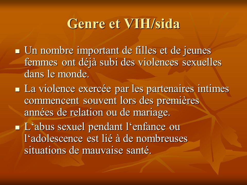 Genre et VIH/sida Un nombre important de filles et de jeunes femmes ont déjà subi des violences sexuelles dans le monde.
