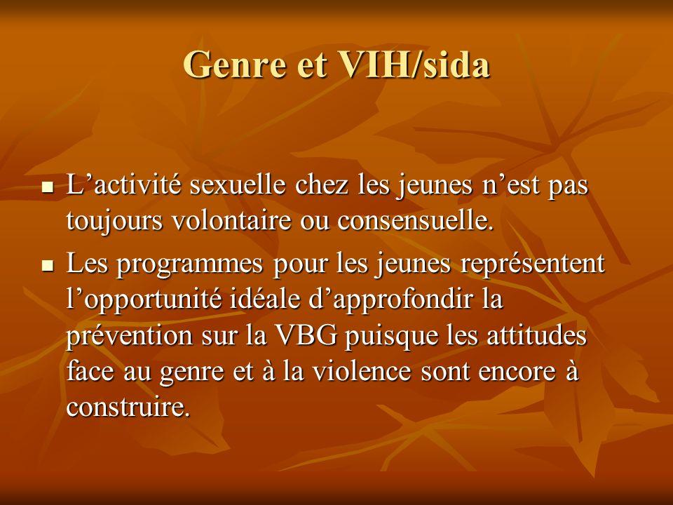 Genre et VIH/sida L'activité sexuelle chez les jeunes n'est pas toujours volontaire ou consensuelle.