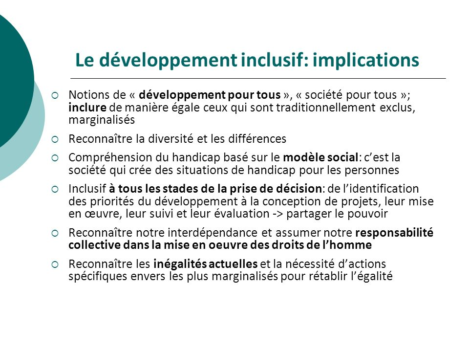 Le développement inclusif: implications