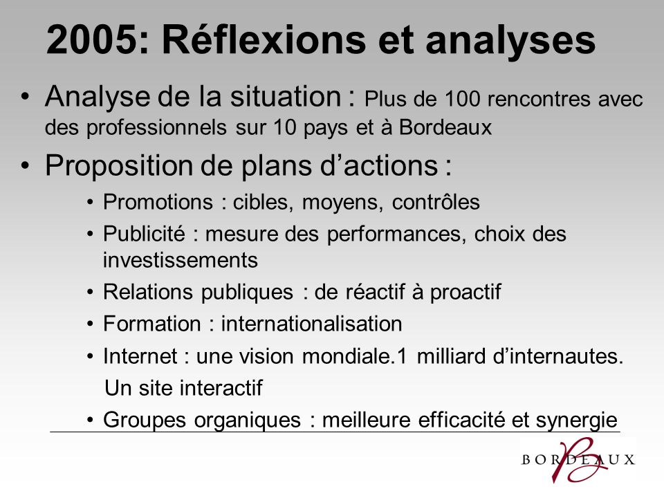2005: Réflexions et analyses