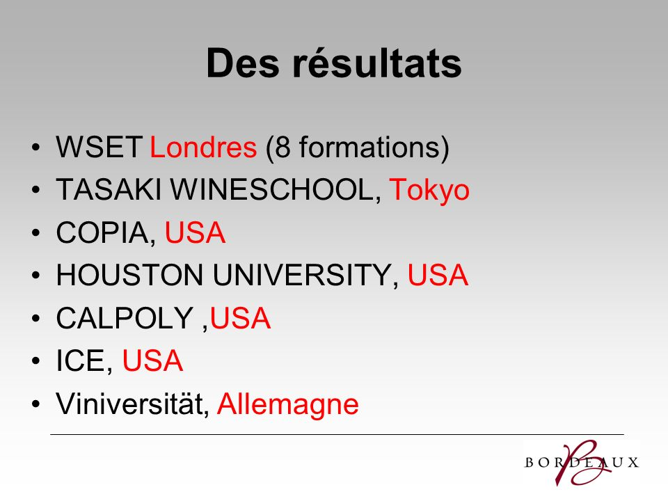 Des résultats WSET Londres (8 formations) TASAKI WINESCHOOL, Tokyo