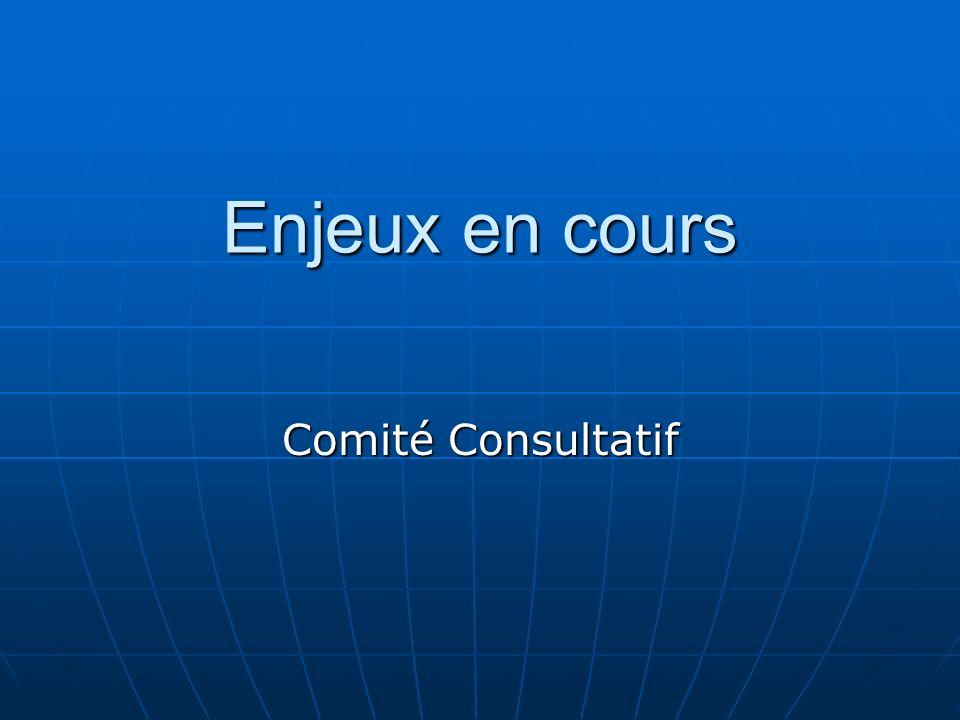 Enjeux en cours Comité Consultatif