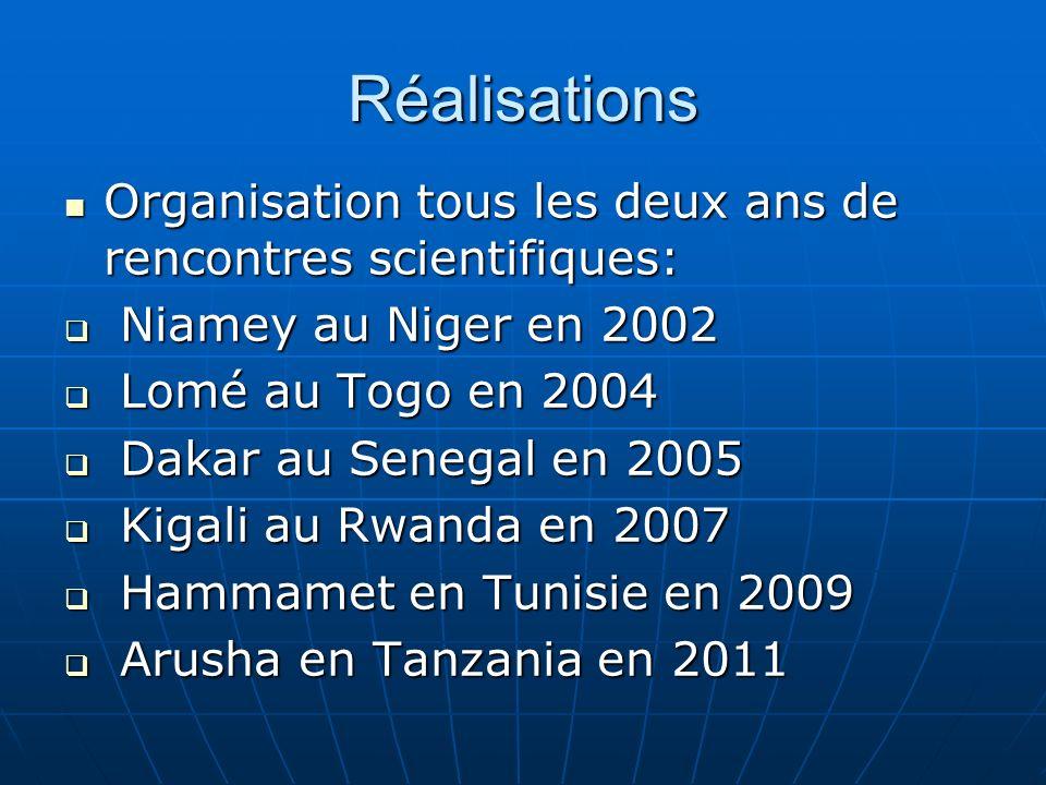 Réalisations Organisation tous les deux ans de rencontres scientifiques: Niamey au Niger en 2002. Lomé au Togo en 2004.