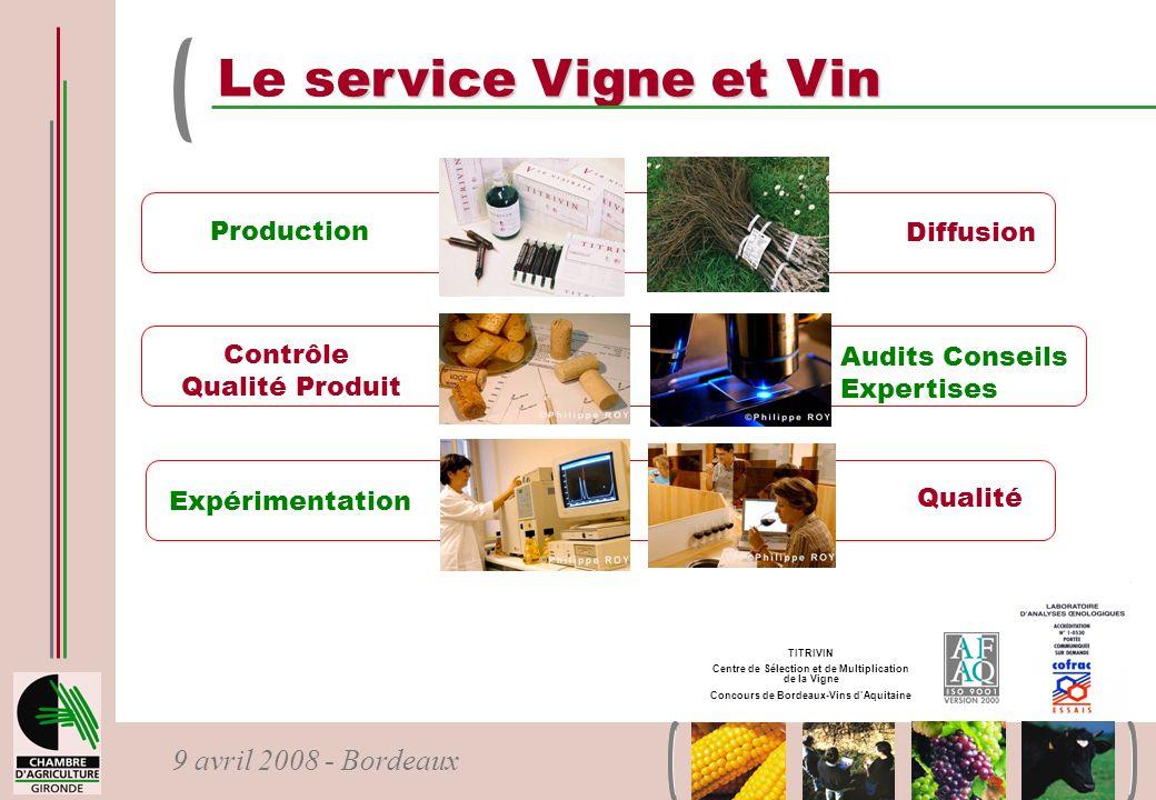 Le service Vigne et Vin Production Diffusion Contrôle Audits Conseils