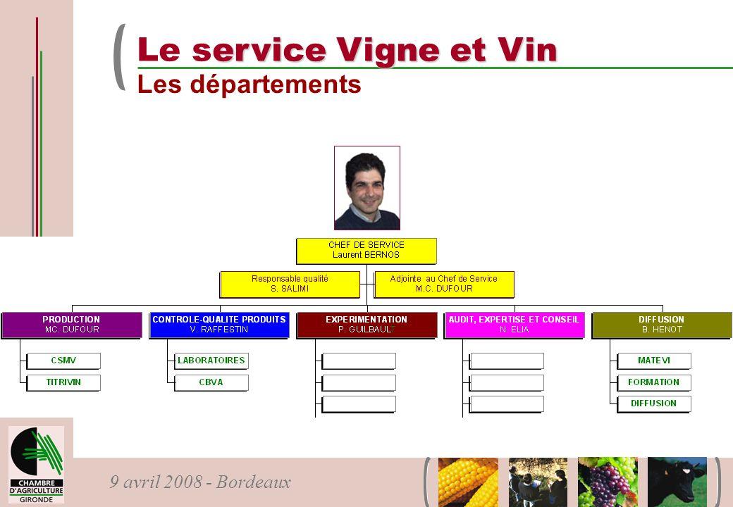 Le service Vigne et Vin Les départements