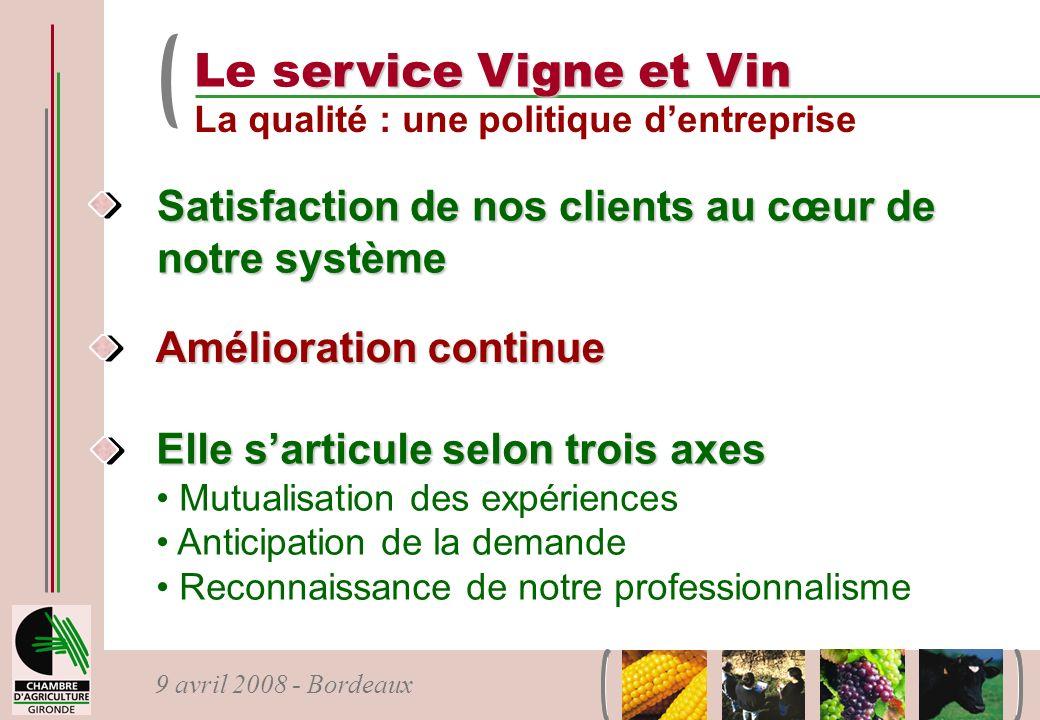 Le service Vigne et Vin La qualité : une politique d'entreprise. Satisfaction de nos clients au cœur de notre système.