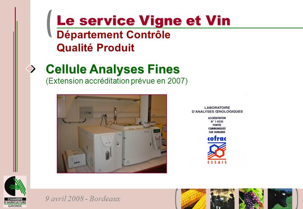 Le service Vigne et Vin Département Contrôle Qualité Produit.