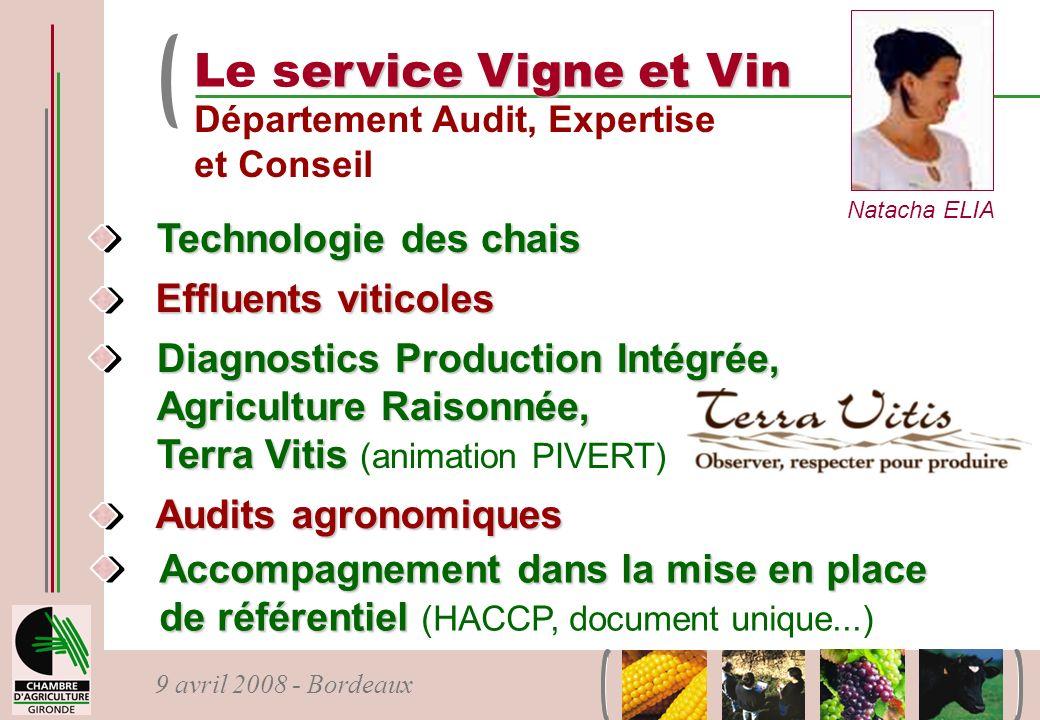 Le service Vigne et Vin Technologie des chais Effluents viticoles