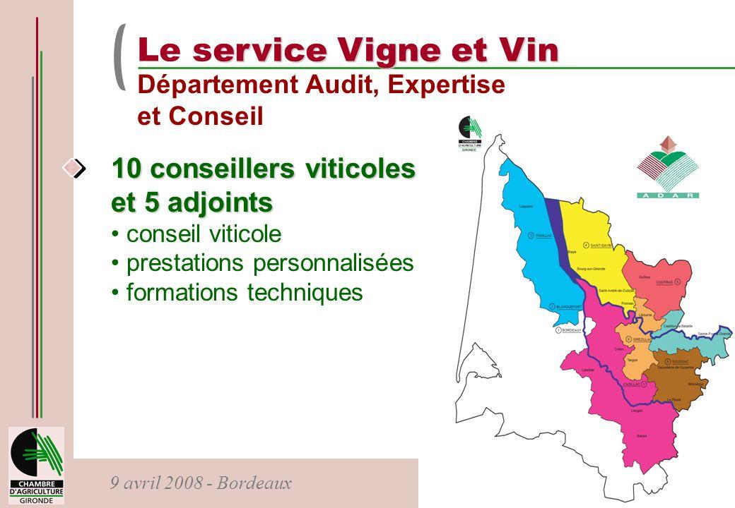 Le service Vigne et Vin 10 conseillers viticoles et 5 adjoints