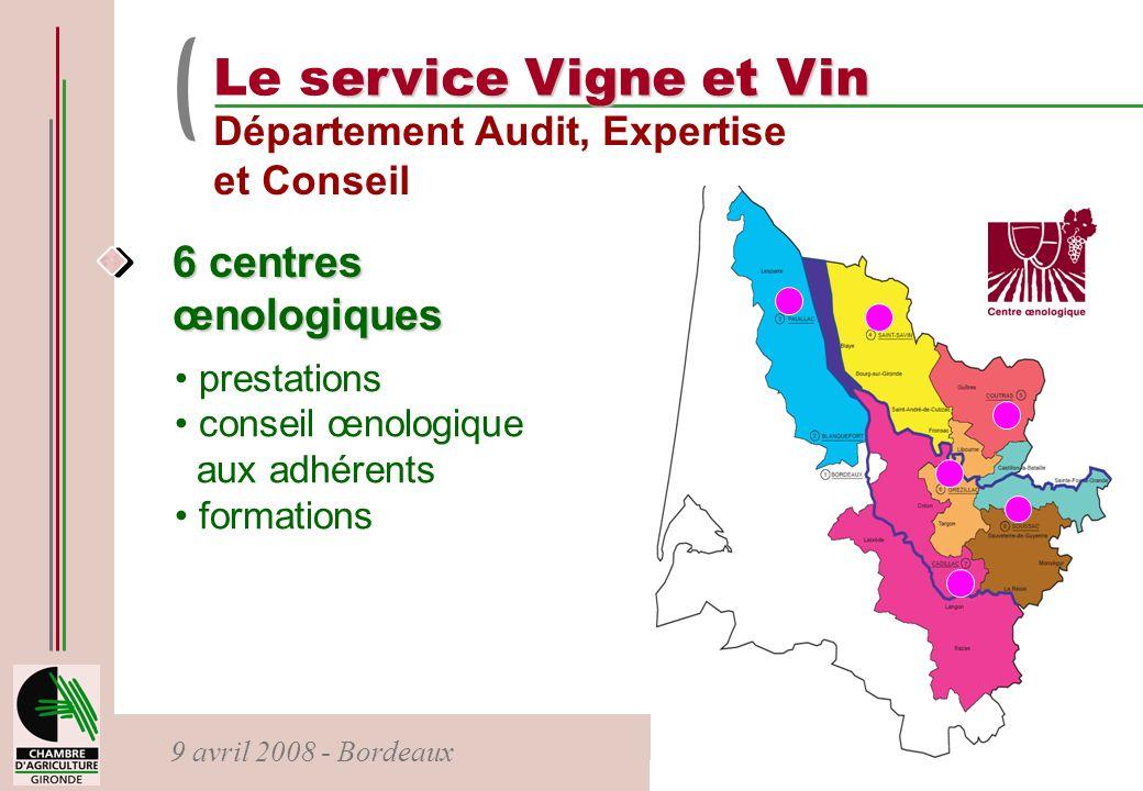 Le service Vigne et Vin 6 centres œnologiques