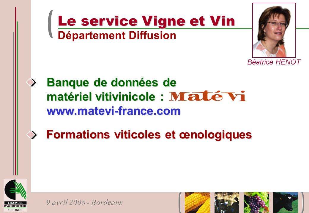 Le service Vigne et Vin Département Diffusion. Béatrice HENOT. Banque de données de matériel vitivinicole : www.matevi-france.com.