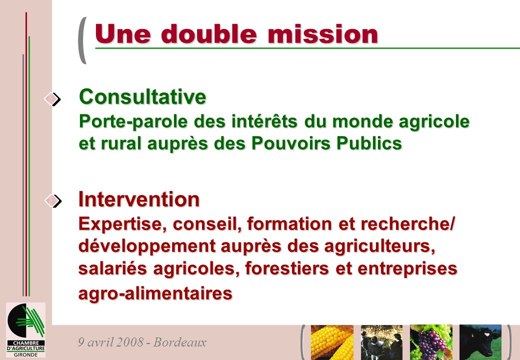 Une double mission Consultative Intervention