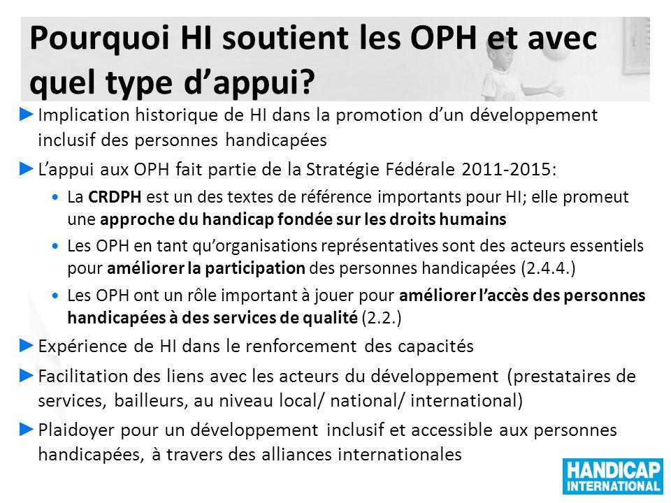 Pourquoi HI soutient les OPH et avec quel type d'appui