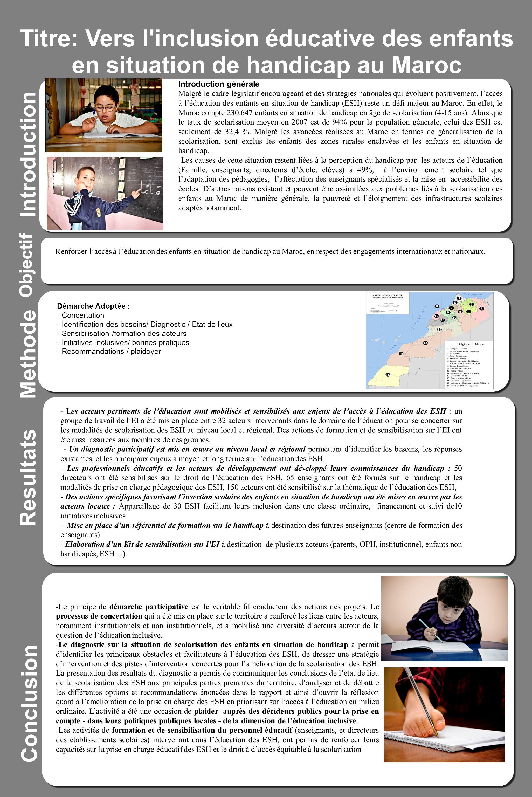 Titre: Vers l inclusion éducative des enfants en situation de handicap au Maroc